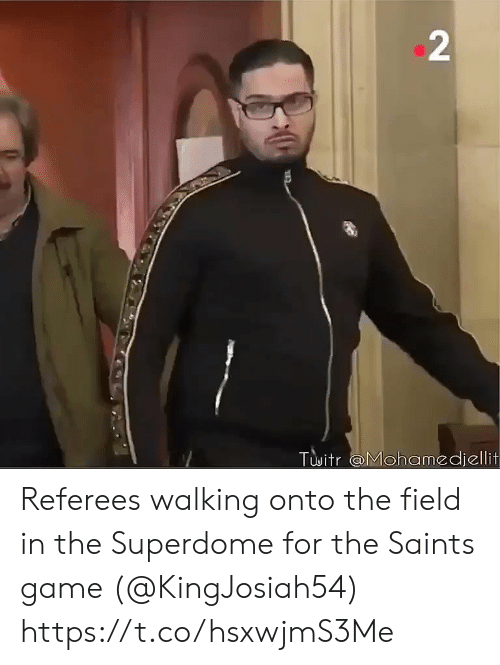 Football, Nfl, and New Orleans Saints: 2  Twitr @Mohamedjellit Referees walking onto the field in the Superdome for the Saints game (@KingJosiah54) https://t.co/hsxwjmS3Me