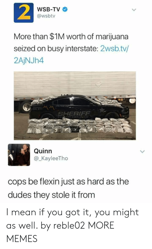 Dank, Memes, and Target: 2  WSB-TV  @wsbtv  More than $1M worth of marijuana  seized on busy interstate: 2wsb.tv/  2AjNJh4  SHERIFF  Quinn  @KayleeTho  cops be flexin just as hard as the  dudes they stole it from I mean if you got it, you might as well. by reble02 MORE MEMES