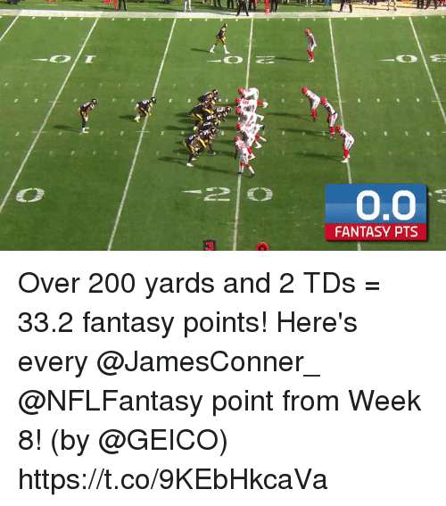 Bailey Jay, Memes, and 🤖: 20.0  FANTASY PTS  3 Over 200 yards and 2 TDs = 33.2 fantasy points!  Here's every @JamesConner_ @NFLFantasy point from Week 8! (by @GEICO) https://t.co/9KEbHkcaVa