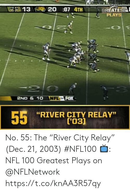"""Memes, Nfl, and 🤖: 20:07 4TH  G2 13  GREATEST  PLAYS  -20  NFL FOX  2ND & 1O  55  RIVER CITY RELAY""""  ('03) No. 55: The """"River City Relay"""" (Dec. 21, 2003) #NFL100  ?: NFL 100 Greatest Plays on @NFLNetwork https://t.co/knAA3R57qy"""