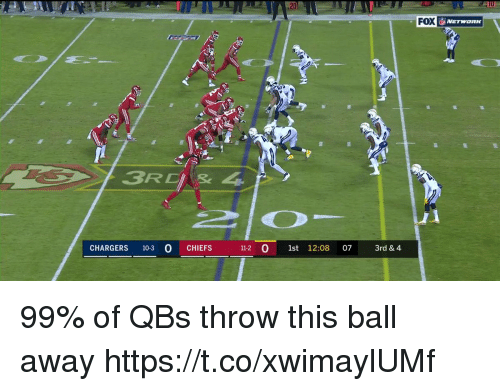 Nfl, Chargers, and Chiefs: 20  FOX  3RCIs 4  CHARGERS 10-3 O CHIEFS  11-2 0 1st 12:08 07 3rd& 4 99% of QBs throw this ball away  https://t.co/xwimaylUMf