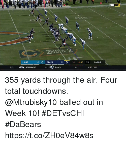 Memes, Nfl, and Bears: 20  FOX  DXNFL  2ND2  LIONS  3-5 O BEARS 53 0 1st 11:40 15 2nd &2  NFL  SEAHAWKS  4-4  RAMS  8-1  4:25 PM ET 355 yards through the air. Four total touchdowns.  @Mtrubisky10 balled out in Week 10! #DETvsCHI #DaBears https://t.co/ZH0eV84w8s