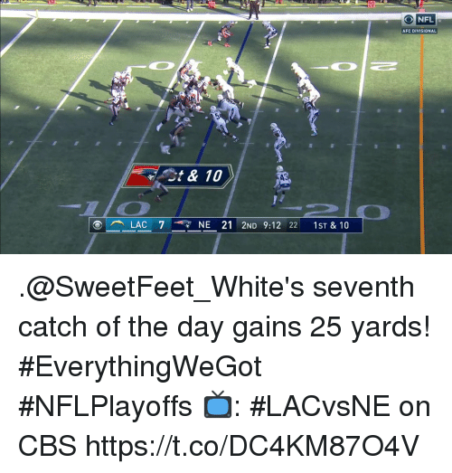 Memes, Nfl, and Cbs: 20  NFL  AFC DIVISIONAL  ost & 10  LAC 737 NE 212ND 9:12 22 1ST&10 .@SweetFeet_White's seventh catch of the day gains 25 yards! #EverythingWeGot #NFLPlayoffs  📺: #LACvsNE on CBS https://t.co/DC4KM87O4V