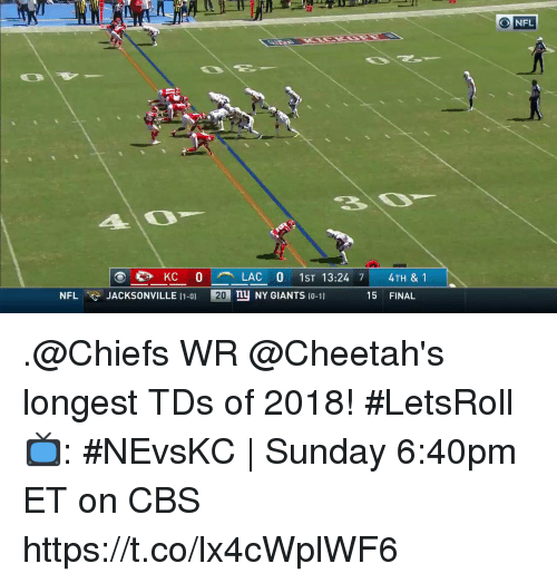 Memes, Nfl, and Cbs: 20  NFL  KC 0LAC 0 1ST 13:24 7 4TH & 1  ny NY GIANTS 10-11  NFL  JACKSONVILLE (1-0)  20  15 FINAL .@Chiefs WR @Cheetah's longest TDs of 2018! #LetsRoll  📺: #NEvsKC | Sunday 6:40pm ET on CBS https://t.co/lx4cWplWF6