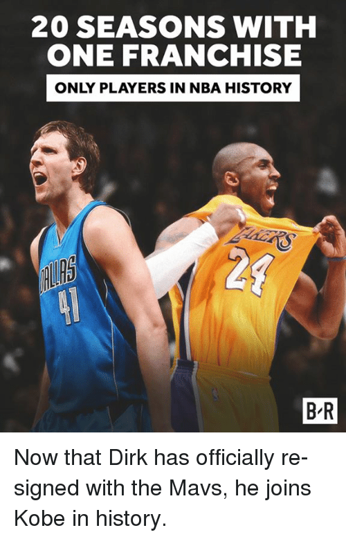mavs: 20 SEASONSWITH  ONE FRANCHISE  ONLY PLAYERS IN NBA HISTORY  20  B-R Now that Dirk has officially re-signed with the Mavs, he joins Kobe in history.