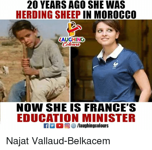 Morocco, Indianpeoplefacebook, and Sheep: 20 YEARS AGO SHE WAS  HERDING SHEEP IN MOROCCO  LAUGHING  NOW SHE IS FRANCE'S  EDUCATION MINISTER Najat Vallaud-Belkacem