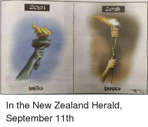 Divided: 2001  2o18  UNITED  DIVIDED /11 In the New Zealand Herald, September 11th