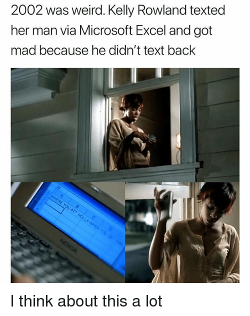 Funny, Microsoft, and Microsoft Excel: 2002 was weird. Kelly Rowland texted  her man via Microsoft Excel and got  mad because he didn't text back I think about this a lot
