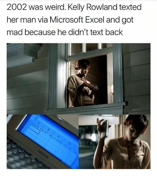 Memes, Microsoft, and Microsoft Excel: 2002 was weird. Kelly Rowland texted  her man via Microsoft Excel and got  mad because he didn't text back  on