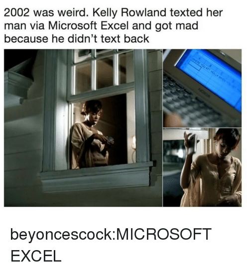 Microsoft, Microsoft Excel, and Target: 2002 was weird. Kelly Rowland texted her  man via Microsoft Excel and got mad  because he didn't text back beyoncescock:MICROSOFT EXCEL