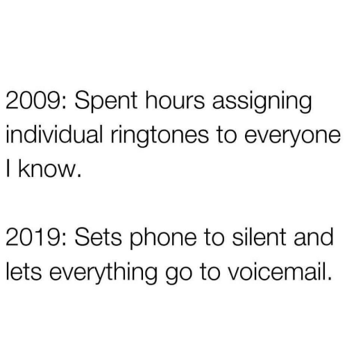 Silent: 2009: Spent hours assigning  individual ringtones to everyone  I know.  2019: Sets phone to silent and  lets everything go to voicemail.