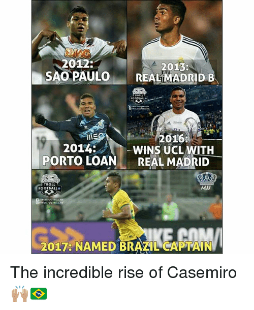Football, Memes, and Troll: 2012:  SAO PAULOREAL MADRID B  2013  2016  2014: Chi-WINS UCLWITH_  PORTO LOANREAL MADRID  TROLL  FOOTBALL  MJD  2017: NAMED BRAZIL CAPTAIN The incredible rise of Casemiro 🙌🏽🇧🇷