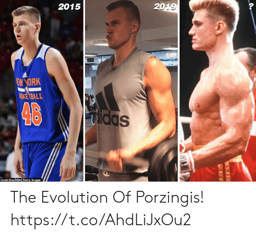 Memes, Evolution, and Getty Images: 2015  2019  dds  EW YORK  ASKETBALL  46  Sppm  Dayid Dow/NBAE/Getty Images The Evolution Of Porzingis! https://t.co/AhdLiJxOu2