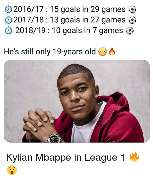 Goals, Memes, and Games: 2016/17: 15 goals in 29 games  2017/18:13 goals in 27 games  2018/19 10 goals in 7 games  He's still only 19-years old 6 Kylian Mbappe in League 1 🔥😵