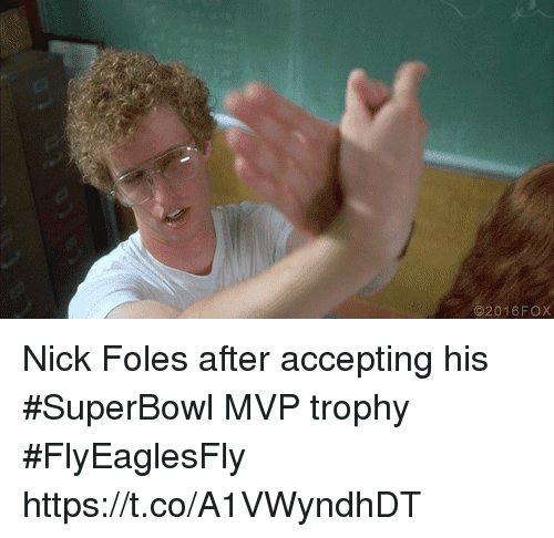 Nfl, Nick, and Nick Foles: 2016FOX Nick Foles after accepting his #SuperBowl MVP trophy #FlyEaglesFly https://t.co/A1VWyndhDT