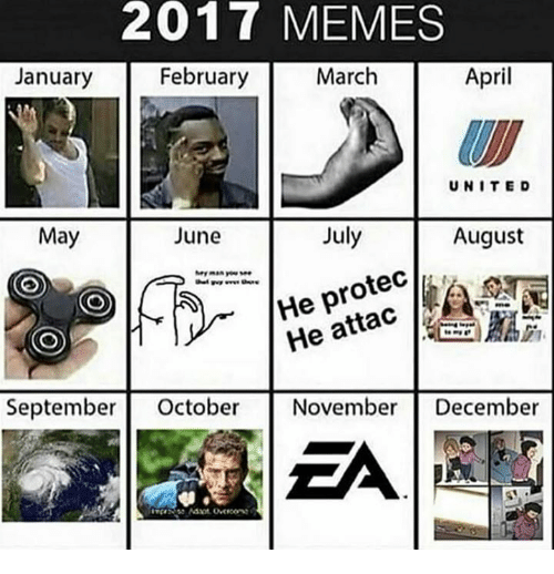 Memes, April, and May: 2017 MEMES  January  February  March  April  UNITE D  May  June  July  August  He protec  He attac  皛脇  Septembe October NovemberDecember  EA
