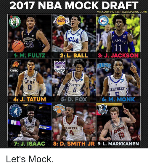 Memes, Nba, and Cbssports: 2017 NBA MOCK DRAFT  VIA GARY PARRISH (CBSSPORTS.COM)  ANSA  11  2: L. BALL  3: J. JACKSON  1: M. FULTZ  KINGS  SUITS  TENTUCKY  5: D. FOX  4: J. TATUM  6: M. MONK  LORDB  7: J. ISAAC  82 D. SMITH JR  9: L. MARKKANEN Let's Mock.