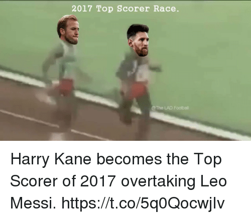 leo messi: 2017 Top Scorer Race.  @The LAD Footbal Harry Kane becomes the Top Scorer of 2017 overtaking Leo Messi.  https://t.co/5q0QocwjIv
