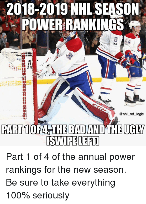 Anaconda, Logic, and Memes: 2018-2019 NHL SEASON  POWERRANKINGS  54  @nhl_ref_logic  [SWIPE LEFTI Part 1 of 4 of the annual power rankings for the new season. Be sure to take everything 100% seriously