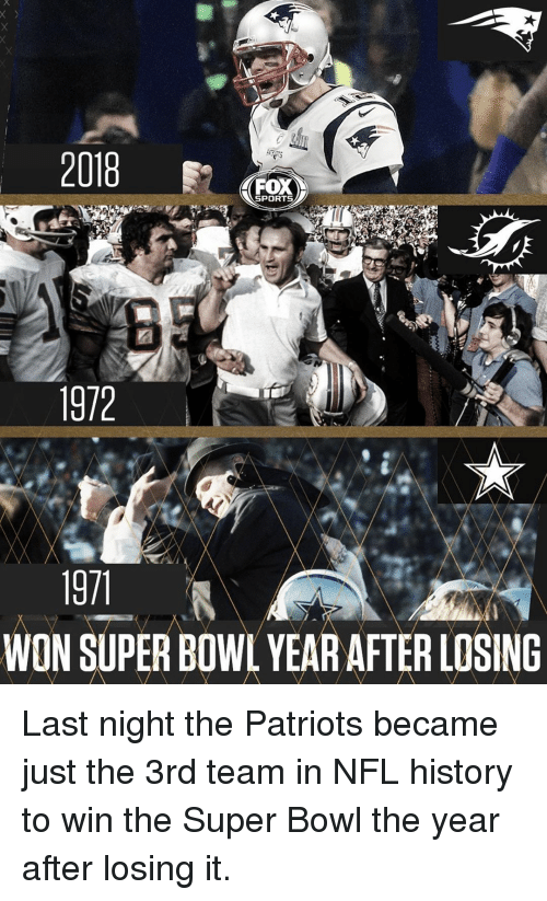 Memes, Nfl, and Patriotic: 2018  FOX  SPORTS  1972  WON SUPER BOWL YEAR AFTER LOSING Last night the Patriots became just the 3rd team in NFL history to win the Super Bowl the year after losing it.
