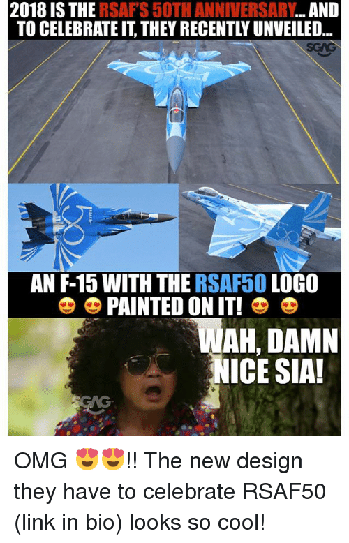 Memes, Omg, and Cool: 2018 IS THE RSAFS 50TH ANNIVERSARY...AND  TO CELEBRATE IT, THEY RECENTLY UNVEILED..  AN F-15 WITH THE RSAF50 LOGO  PAINTED ON IT!  AH, DAMN  NICE SIA!  CAG OMG 😍😍!! The new design they have to celebrate RSAF50 (link in bio) looks so cool!