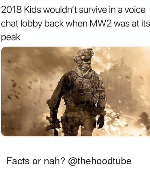 Facts, Memes, and Chat: 2018 Kids wouldn't survive in a voice  chat lobby back when MW2 was at its  peak Facts or nah? @thehoodtube