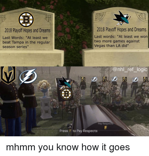 "Logic, Memes, and National Hockey League (NHL): 2018 Playoff Hopes and Dreams  Last Words: ""At least we  beat Tampa in the regular  season series""  2018 Playoff Hopes and Dreams  Last words: ""At least we won  two more games against  Vegas than LA did'""  @nhl_ ref_logic  5  Pay Respec  Press F to Pay Respects mhmm you know how it goes"