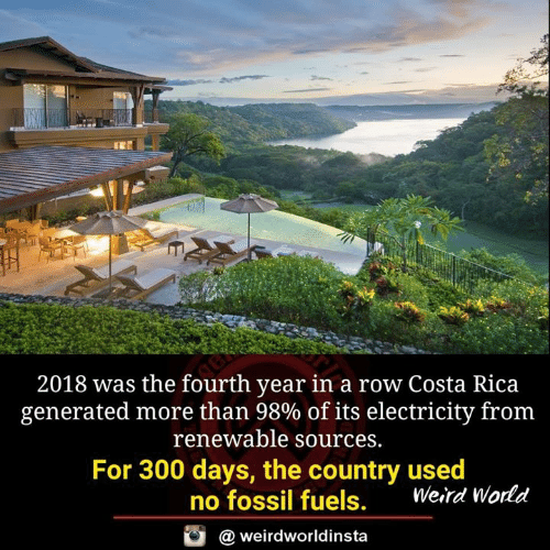 Memes, Weird, and Costa Rica: 2018 was the fourth year in a row Costa Rica  generated more than 98% of its electricity from  renewable sources.  For 300 days, the country used  no fossil fuels.  Weird World  @ weirdworldinsta