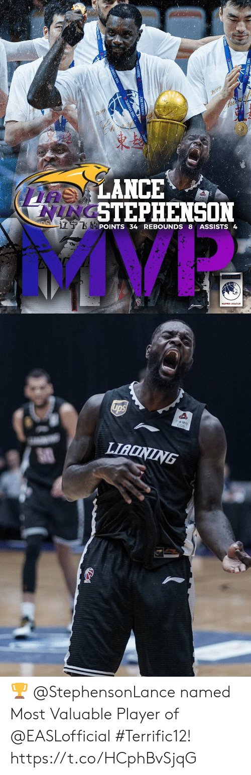 asia: 2019  asLANCE  NINGSTEPHENSON  S  TKPOINTS 34 REBOUNDS 8 ASSISTS 4  AST ASIA  SUPER LEAGUE  TERRIFIC  E TERDIEIC   ups  rERS  CGB  LIADNING ? @StephensonLance named Most Valuable Player of @EASLofficial #Terrific12! https://t.co/HCphBvSjqG