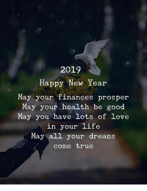 Life, Love, and New Year's: 2019  Happy New Year  May your finances prosper  May your health be good  May you have lots of love  in your life  May all your dreams  come true