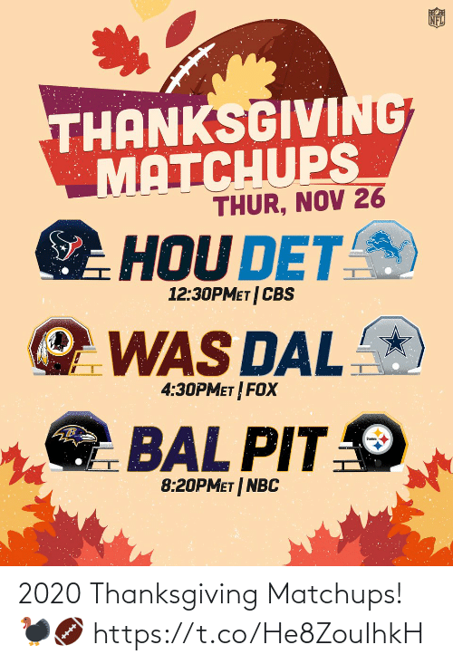 Thanksgiving: 2020 Thanksgiving Matchups! 🦃🏈 https://t.co/He8ZouIhkH
