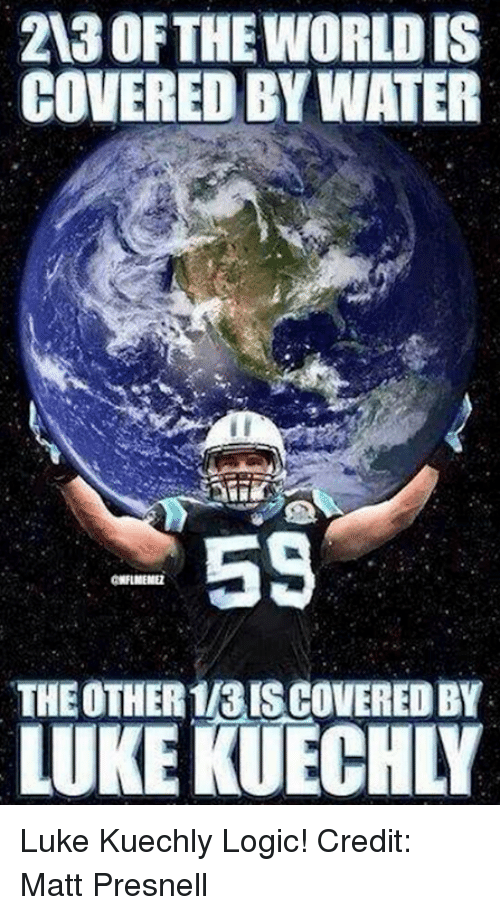 kuechly: 2030 FTHEWORLDIS  COVERED BY WATER  55  THE OTHER113ISCOVEREDBY  LUKE KUECHN Luke Kuechly Logic!