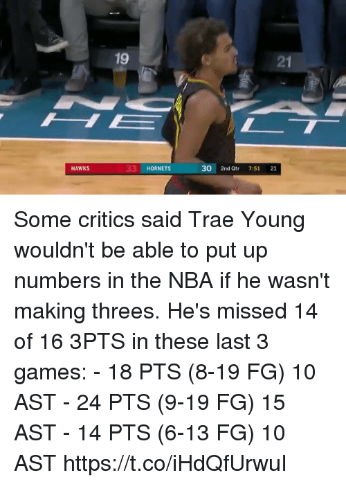Memes, Nba, and Games: 21  33 HORNETS  30 2nd Qtr 7:51 21  HAWKS Some critics said Trae Young wouldn't be able to put up numbers in the NBA if he wasn't making threes. He's missed 14 of 16 3PTS in these last 3 games:   - 18 PTS (8-19 FG) 10 AST - 24 PTS (9-19 FG) 15 AST - 14 PTS (6-13 FG) 10 AST https://t.co/iHdQfUrwuI
