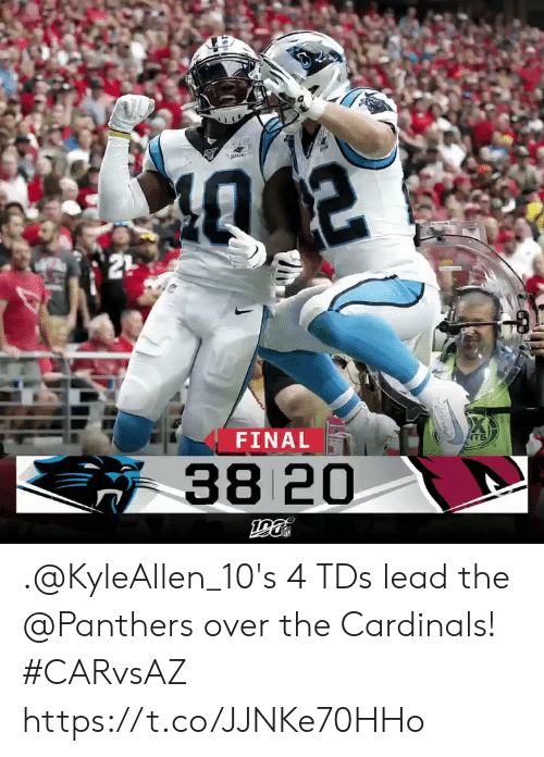 Memes, Cardinals, and Panthers: 21  FINAL  ATS  38 20 .@KyleAllen_10's 4 TDs lead the @Panthers over the Cardinals! #CARvsAZ https://t.co/JJNKe70HHo