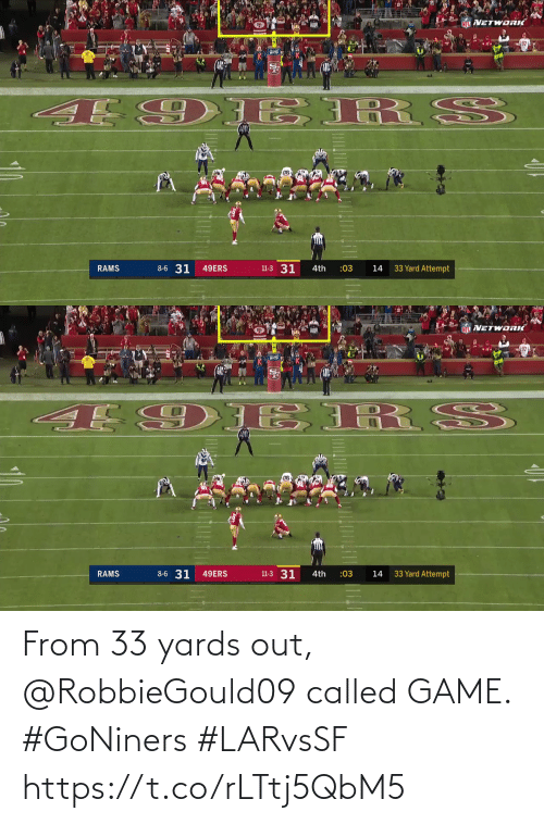 Rams: 21  NFL VETWORIĆ  8-6 31  11-3 31  33 Yard Attempt  49ERS  RAMS  4th  :03  14   NETWORIČ  E 9 ERS  06  8-6 31  11-3 31  33 Yard Attempt  RAMS  49ERS  4th  :03  14 From 33 yards out, @RobbieGould09 called GAME. #GoNiners #LARvsSF https://t.co/rLTtj5QbM5