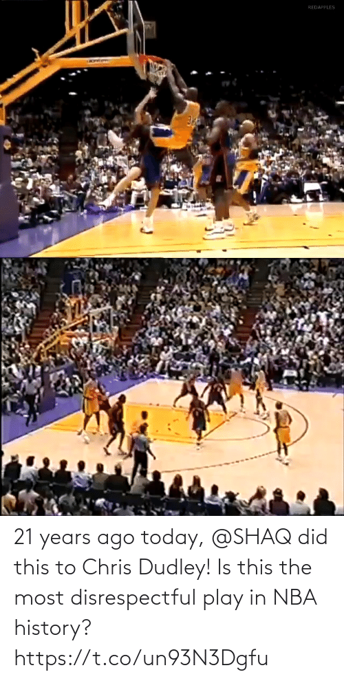 did: 21 years ago today, @SHAQ did this to Chris Dudley!  Is this the most disrespectful play in NBA history? https://t.co/un93N3Dgfu