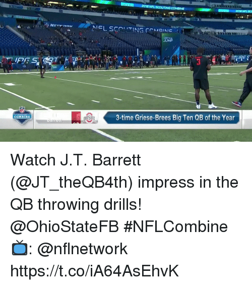 Memes, Time, and Watch: 212  VERTICAL  JUMP  3-time Griese-Brees Big Ten QB of the Year  COMBINE Watch J.T. Barrett (@JT_theQB4th) impress in the QB throwing drills!  @OhioStateFB #NFLCombine  📺: @nflnetwork https://t.co/iA64AsEhvK