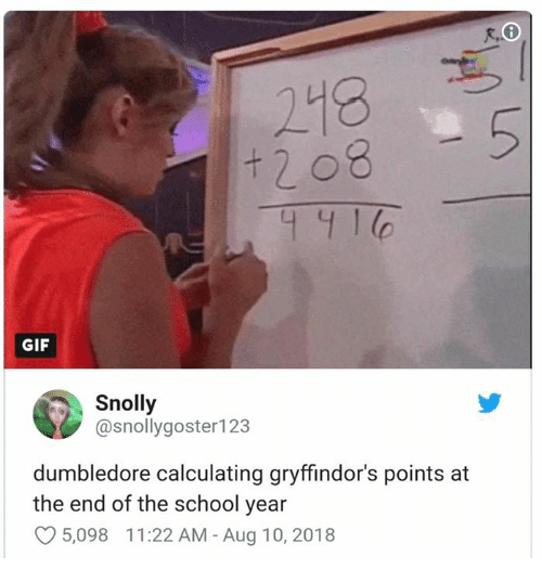 Dumbledore, Gif, and Memes: 218  GIF  Snolly  @snollygoster123  dumbledore calculating gryffindor's points at  the end of the school year  5,098 11:22 AM - Aug 10, 2018