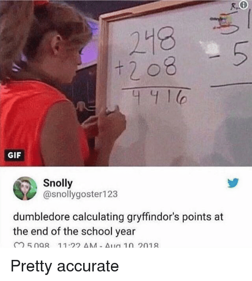 Dumbledore, Gif, and School: 218  t 2 08  5  C.  GIF  Snolly  @snollygoster123  dumbledore calculating gryffindor's points at  the end of the school year Pretty accurate