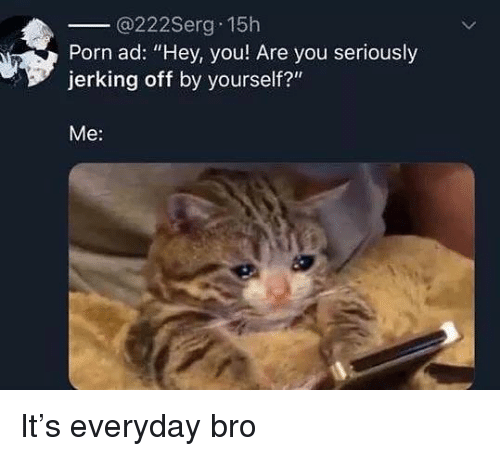 """Porn, Dank Memes, and You: @222Serg 15h  Porn ad: """"Hey, you Are you seriously  jerking off by yourself?""""  Me: It's everyday bro"""