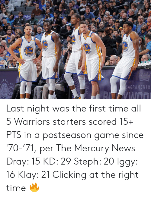 News, Game, and Iggy: 23  30  ARR  SACRAMENTO Last night was the first time all 5 Warriors starters scored 15+ PTS in a postseason game since '70-'71, per The Mercury News  Dray: 15 KD: 29 Steph: 20 Iggy: 16 Klay: 21  Clicking at the right time 🔥