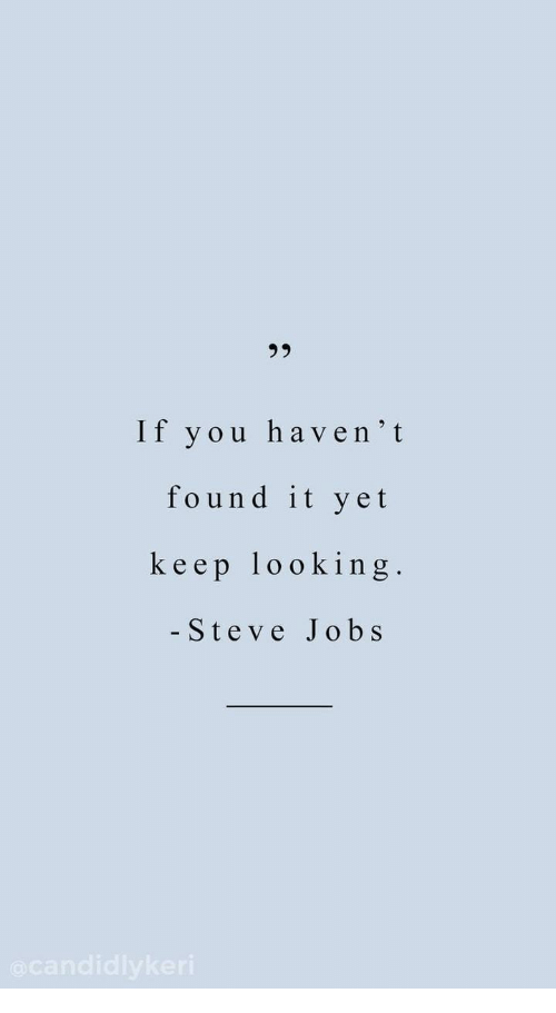 Keep Looking: 23  If you haven't  found it yet  keep looking.  - Steve Jobs
