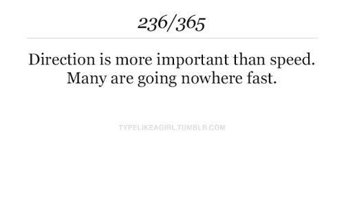 Tumblr, Com, and Speed: 236/365  Direction is more important than speed  Many are going nowhere fast  TYPELIKEAGIRL.TUMBLR.COM