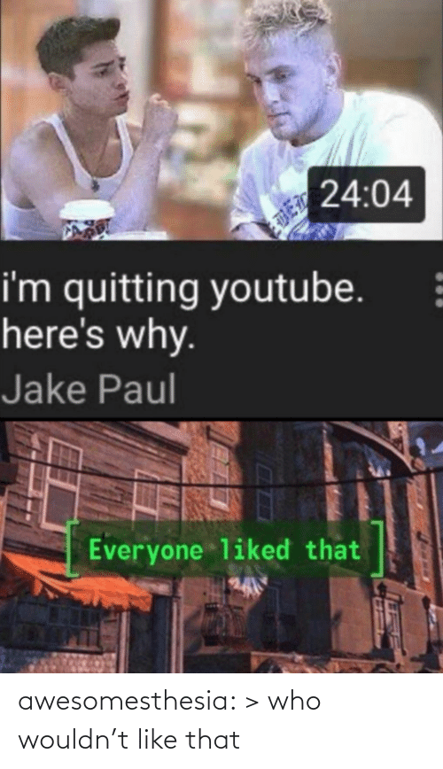 Heres: 24:04  i'm quitting youtube.  here's why.  Jake Paul  Everyone liked that awesomesthesia:  > who wouldn't like that