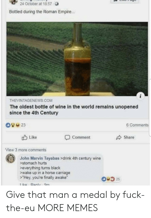 Dank, Empire, and Memes: 24 October at 18:57  Bottled during the Roman Empire...  THEVINTAGENEWS.cOM  The oldest bottle of wine in the world remains unopened  since the 4th Century  6 Comments  23  Like  Comment  Share  View 3 more comments  John Marvin Tayabas >drink 4th century wine  stomach hurts  everything turns black  wake up in a horse carriage  Hey, you're finally awake  O25 Give that man a medal by fuck-the-eu MORE MEMES