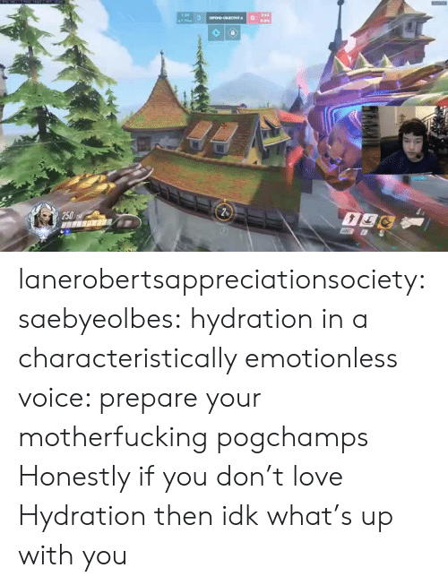 Love, Tumblr, and Blog: 250 lanerobertsappreciationsociety: saebyeolbes: hydration in a characteristically emotionless voice: prepare your motherfucking pogchamps  Honestly if you don't love Hydration then idk what's up with you