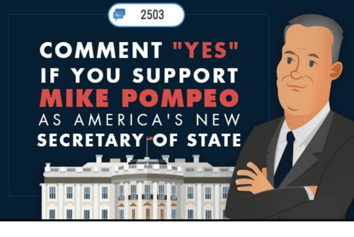 """Conservative, Yes, and Secretary of State: 2503  COMMENT """"YES  IF YOU SUPPORT  MIKE POMPEO  AS AMERICA'S NE W  SECRETARY OF STATE"""