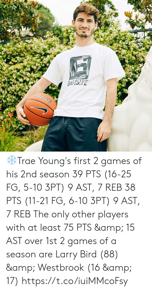 Memes, Games, and Orlando: 26.9  THTISSOT  11  inioetast  KIA  ORLANDO  10  BLANDO  KIA  KIA ❄️Trae Young's first 2 games of his 2nd season  39 PTS (16-25 FG, 5-10 3PT) 9 AST, 7 REB  38 PTS (11-21 FG, 6-10 3PT) 9 AST, 7 REB  The only other players with at least 75 PTS & 15 AST over 1st 2 games of a season are Larry Bird (88) & Westbrook (16 & 17)  https://t.co/iuiMMcoFsy