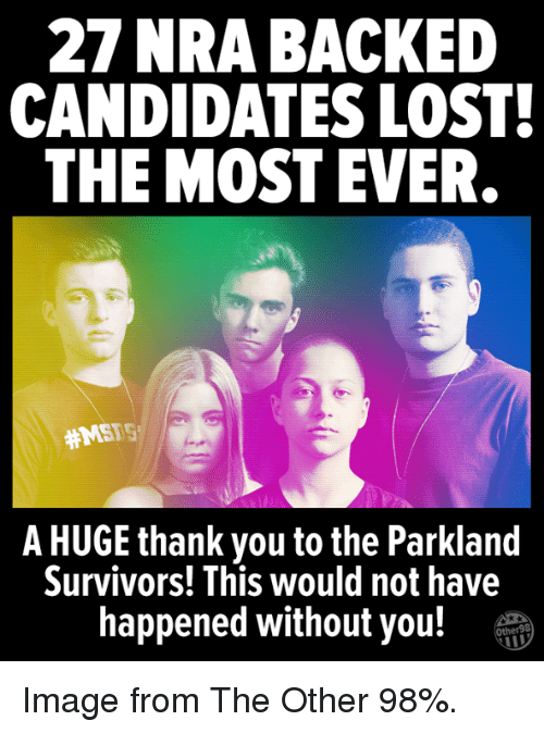 Memes, Lost, and Thank You: 27 NRA BACKED  CANDIDATES LOST  THE MOST EVER  #MSFS  A HUGE thank you to the Parkland  Survivors! This would not have  happened without you!T Image from The Other 98%.