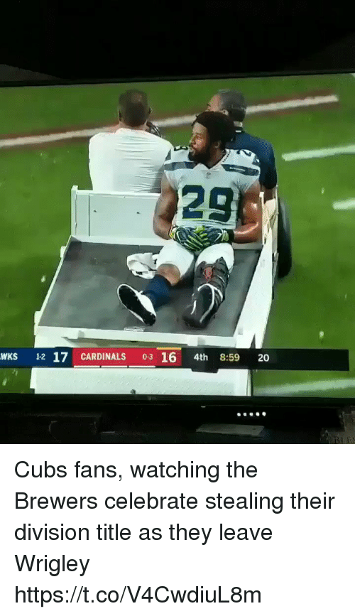 Sports, Wrigley, and Cardinals: 29  WKS 12 17 CARDINALS 03 16 4th 8:59 20 Cubs fans, watching the Brewers celebrate stealing their division title as they leave Wrigley https://t.co/V4CwdiuL8m